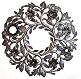 Haitian Metal Wall Art Handcrafted Garden Sculpture Hanging Lid Floral Wreath Review
