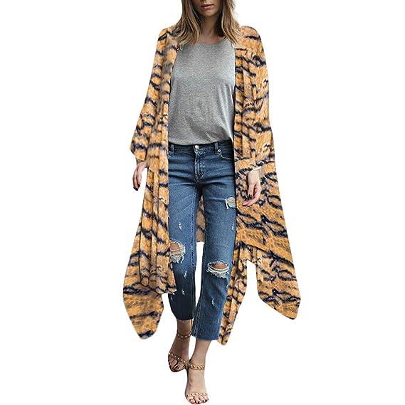 05c356ec84c8cc MAYOGO Bluse Damen Lang Cardigan Ponchos Capes des Premium Chiffon,Elegant  Blume und Tiger-