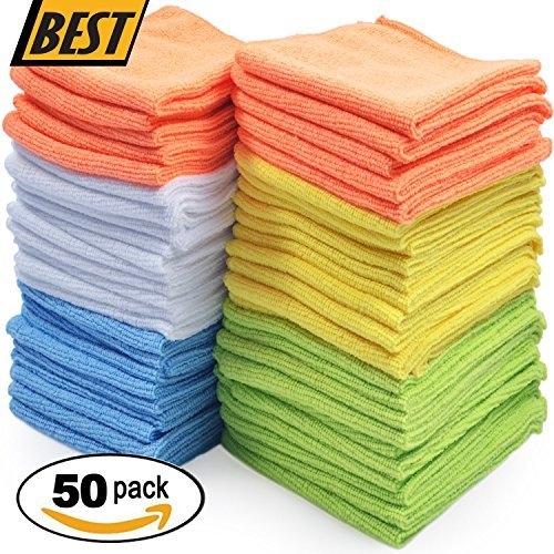 """Best Microfiber Cleaning Cloths – Pack of 50 Towels"""