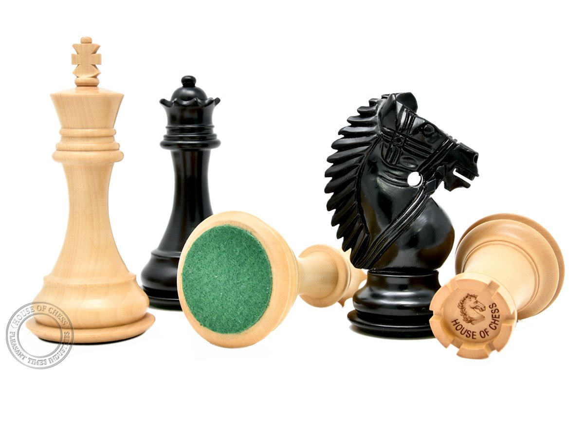 House of Chess 102 mm Triple Weighted Pleasant Times Industries - 2 Extra Queens King Height: 4 Inch Ebonized // Boxwood Rio Staunton Chess Pieces