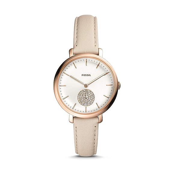 Fossil Jacqueline Multunction Reloj de Pulsera para Mujer, Piel Blanca, Invierno ES4471: Amazon.es: Relojes