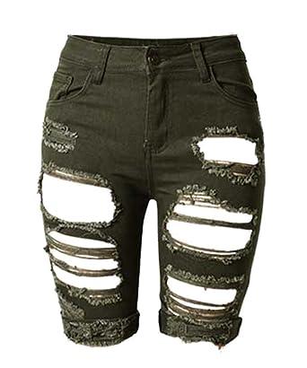 AJ FASHION Women's Distressed Denim Shorts Knee Length High ...