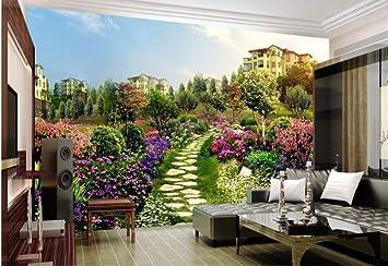 Murales Mural Para La Pared Jardín Villa Flor Pizarra Carretera Paisaje Para Dormitorios Decoración Incluye Pegamento(W)300x(H)210cm Silk Cloth: Amazon.es: Bricolaje y herramientas