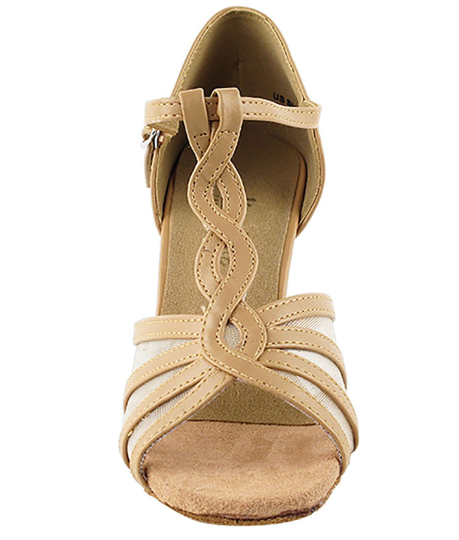 Very Fine Ballroom Latin Tango Salsa Dance Shoes for Women 1692 2.5 Inch Heel + Foldable Brush Bundle B01MZCWUEX 9 B(M) US|Beige Brown Leather & Flesh Mesh