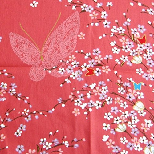 (Asian Janpanese Kimono Fabric Lovely Red White Pink Sweet Sakura Butterfly 36 by 36-Inch Wide (1 Yard) (KM066))