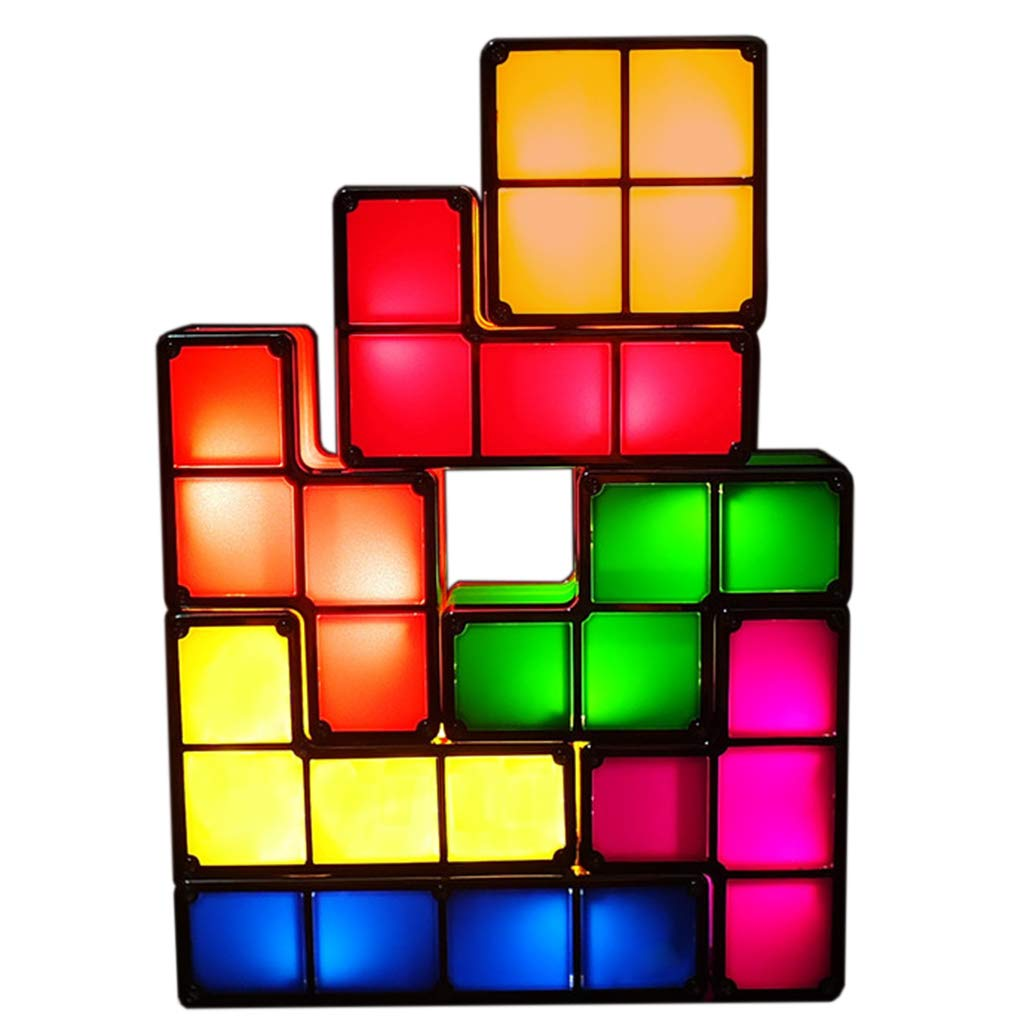 7 PCS Tetris Stackable Night Light 3D Puzzles Toy 7 Colors Magic Blocks Induction Interlocking LED Novelty Desk Lamp Lighting DIY for Kids Teens and Adults Home Deco Great Gift for Birthday and Christ Wewinn