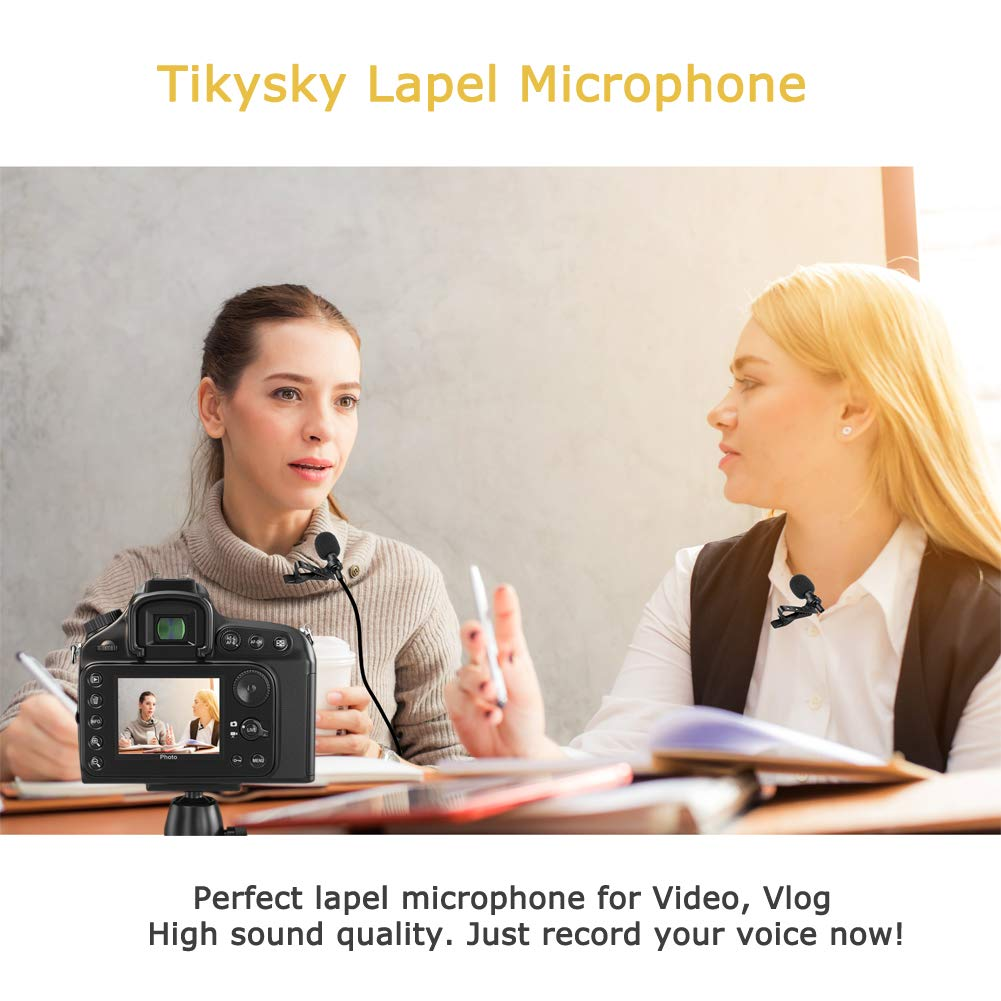 Lavalier Lapel Microphone,Tikysky Clip On Lav Mic for iPhone Android Cell Phone Smartphone Camera Vlog Interview Video Recording Podcast
