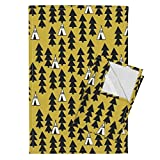 Roostery Teepee Tipi Mustard Southwest Baby Nursery Tea Towels Tipi Trees Teepee Mustard by Andrea Lauren Set of 2 Linen Cotton Tea Towels