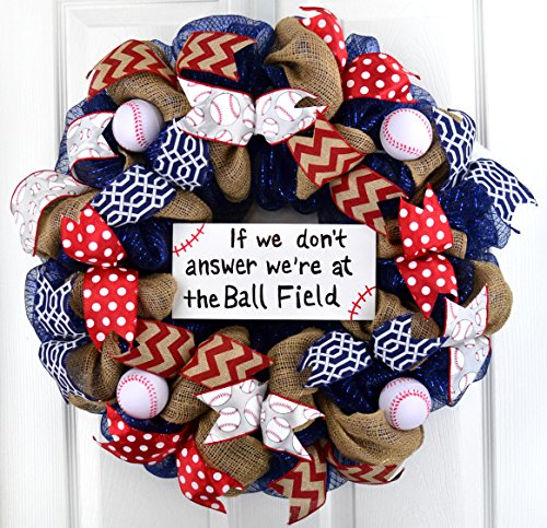 Handpainted Baseball Ball Field mesh door wreath; navy blue red white