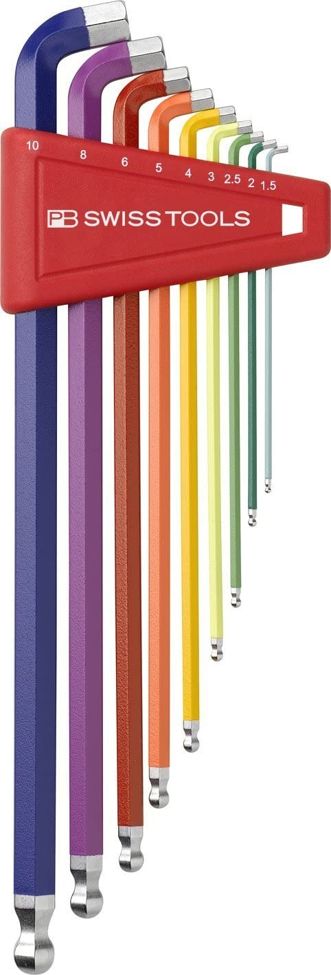 PB Swiss Tools PB 2212LH-10 RB Ballend hex wrench set long stubby tip rainbow by PB Swiss