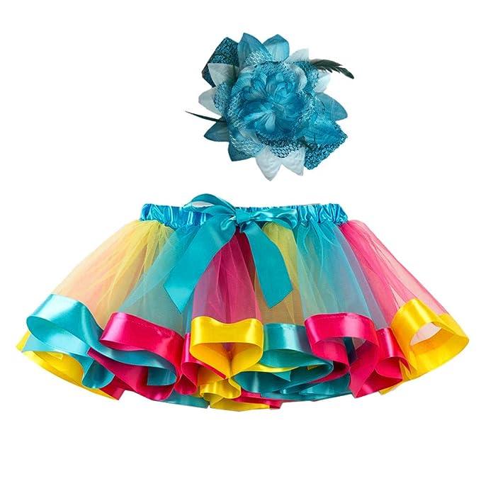 3f0ba5c45 Xmiral Niñas 2Pcs Falda Tutu de Iris Colorido Disfraz Carnaval para Ballet  Danza