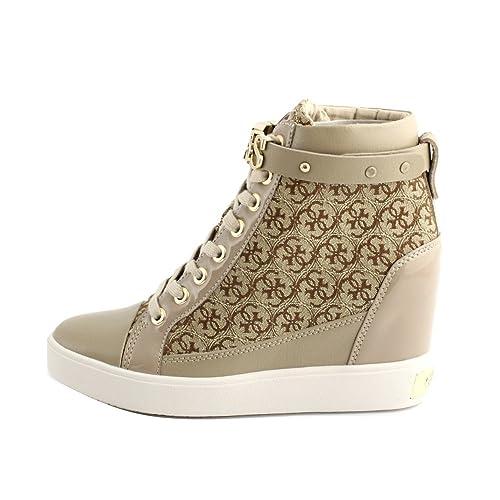 d1dfa68e2f Guess Sneakers Casual Donna Pelle Beige Tessuto logato Bronzo ...
