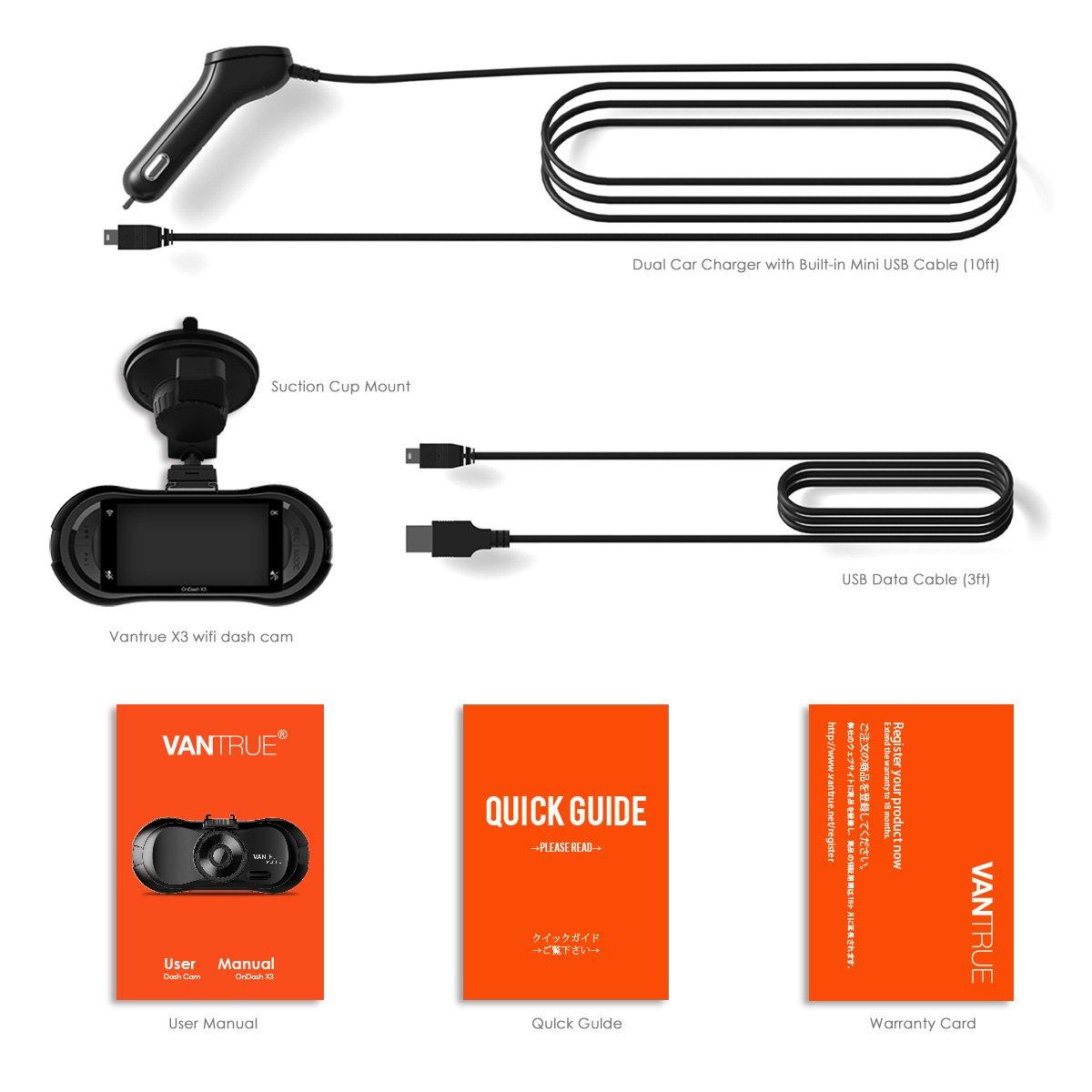 Vantrue X3 WIFI Dash Cam, Super HD 2.5K Car Dashboard Camera 1440P Car Camera with Ambarella A12 Chipset, 170°Wide Angle, Super HDR Night Vision, Loop Recording, Parking Mode, Motion Detection by VANTRUE (Image #8)