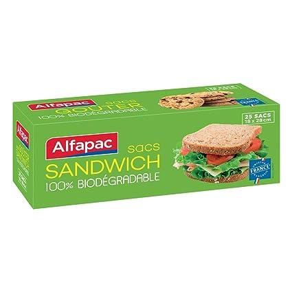 Alfapac - Lote de 25 bolsas para sándwich/merienda 100 ...