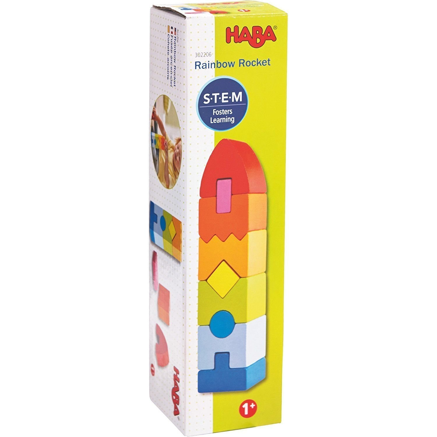 HABA Rainbow Rocket 9 Piece Wooden Stacking Play Set for Ages 1 and Up
