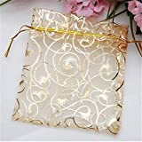 Ankirol 100pcs Mini Sheer Organza Wedding Favor Bags 3.5x4.5 Luxury Jewelry Candy Gift Card Bags With Gold Line Drawstring Pouches (gold eyelash)