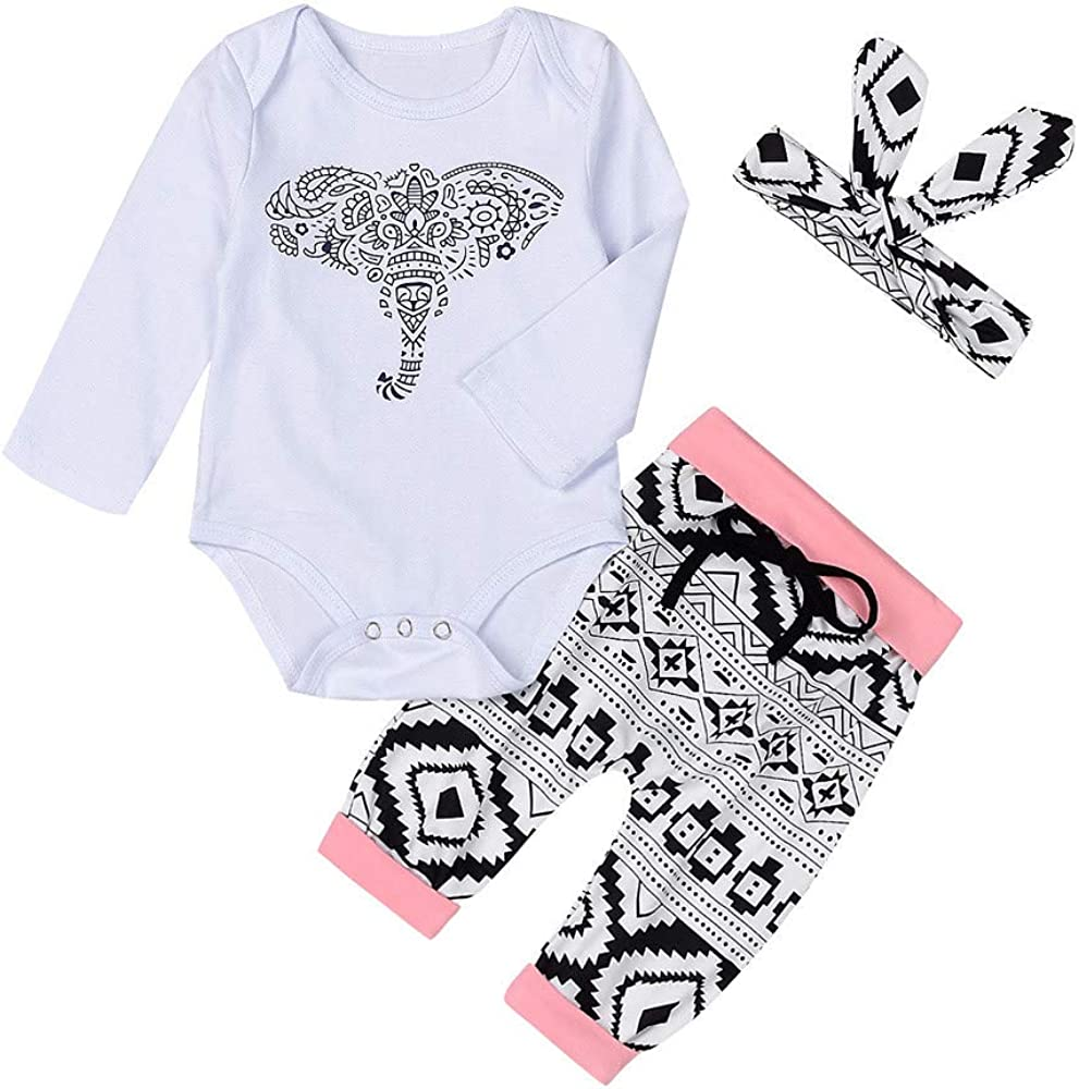 BFYOU Newborn Toddler Baby Boys Girls Outfits Clothes Elephant Romper Pants 3pcs Set