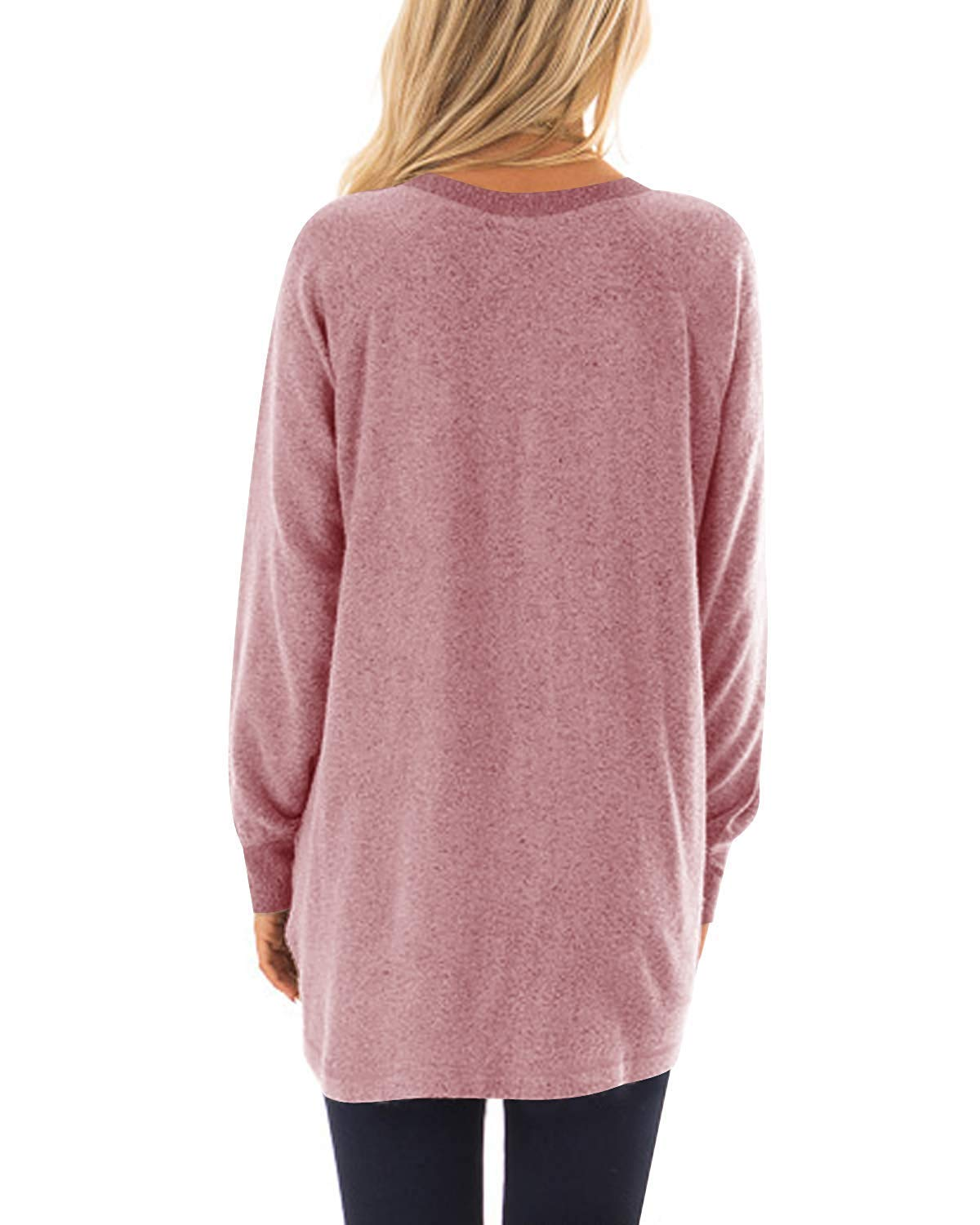Womens Casual Long Sleeve Round Neck Pocket T Shirts Blouses Sweatshirts Tops Pink