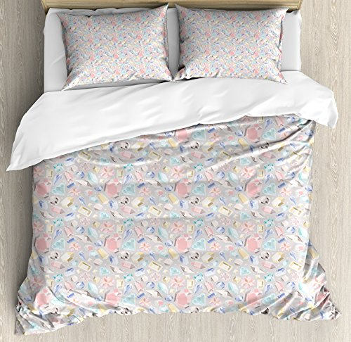 Diamonds Duvet Cover Set King Size by Ambesonne, Pastel Colored Cushion Baguette Square and Oval Shaped Design Star Filled Backdrop, Decorative 3 Piece Bedding Set with 2 Pillow Shams, (Baguette Diamond Case)