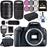 Canon EOS Rebel SL2 DSLR Camera (Black) 2249C001 + Canon EF-S 18-135mm f/3.5-5.6 IS USM Lens + Canon EF 75-300mm Lens + 128GB SDXC Card + LPE-17 Lithium Ion Battery + Flash + Canon 100ES bag Bundle