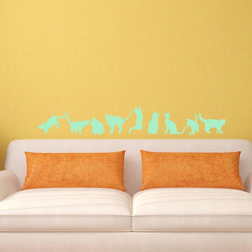 Amazon.com: Funlife 9 Cats Luminous Cat Wall Stickers,Fluorescent ...
