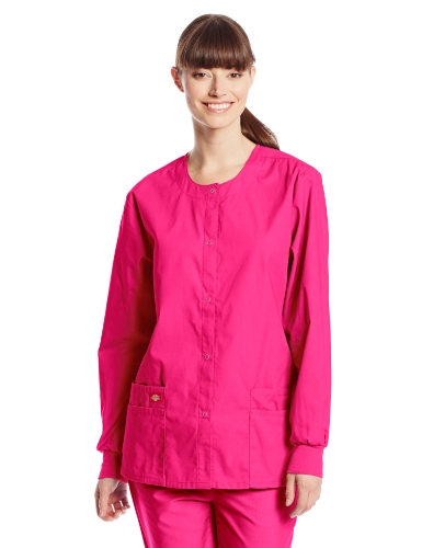 (Dickies Women's EDS Signature Scrubs Missy Fit Snap Front Warm-Up Jacket, Hot Pink, Medium)