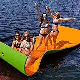 Popsport Floating Water Mat 9X6FT/12X6FT/18X6FT Floating Foam Pad Water Recreation and Relaxing in Pool/Beach/Lake Water Floating Mat with DIY Head Pillow for Adults and Kids (270X60CM,Orange&Green)