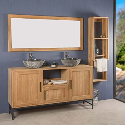wanda collection Mueble de Cuarto de baño Doble Pablo de Teca 160 cm