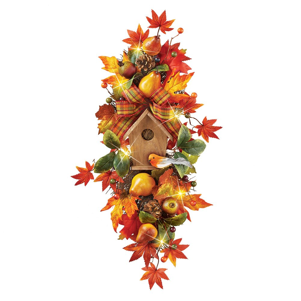 Harvest Pear Birdhouse Swag Indoor Fall Wall Decoration with Birds, Leaves, Bows and More