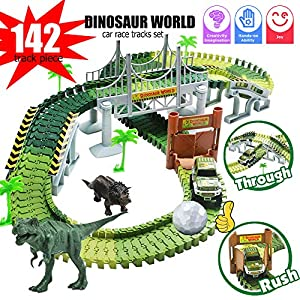 Dinosaur Tracks,144 Piece Car Tracks for Kids,Jurassic World Toy,Flexible Race Tracks,Bridge,T Rex Triceratops Dino,Create A Road,Playset for 3 4 5 6 Year Old Kids Boys Girls Toddlers