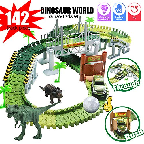 Dinosaur Train Set, Electric Cars Toy Set for Kids , 142 Piece Slot Car Race Dinosaur Tracks Set, Flexible Tracks Playset, 3 4 5 6 7 8 Year Old Boy Toys,Gift for Toddler, Kids -