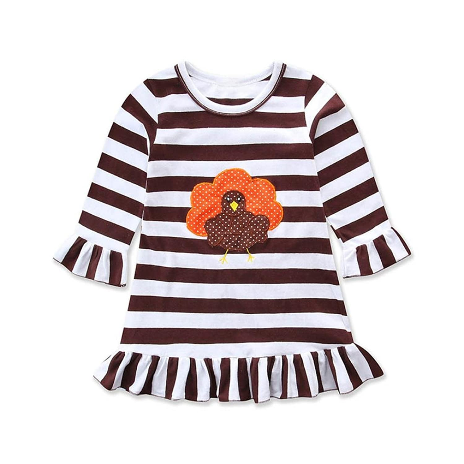FAPIZI Happy Thanksgiving Baby Dress Toddler Girl Turkey Long Sleeve Print Dress Stripe Sundress Outfit