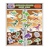JesPlay Dinosaur Glass Window and Wall Puffy Stickers for Kids (by Incredible Gel and Window Clings) - Large and Small Reusable Dino Jurassic World Puffy Clings for Home, Airplane, Classroom, Nursery
