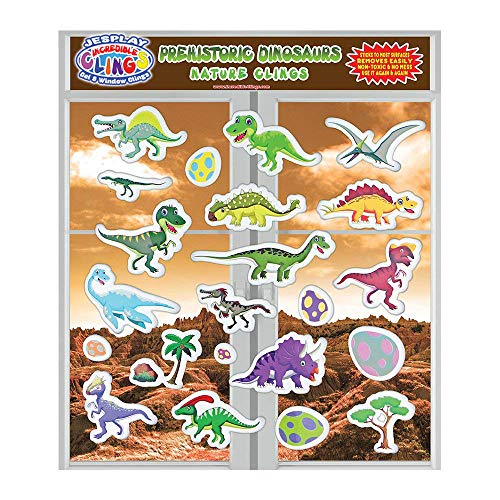 JesPlay Dinosaur Glass Window and Wall Puffy Stickers for Kids (by Incredible Gel and Window Clings) – Large and Small Reusable Dino Jurassic World Puffy Clings for Home, Airplane, Classroom, Nursery ()