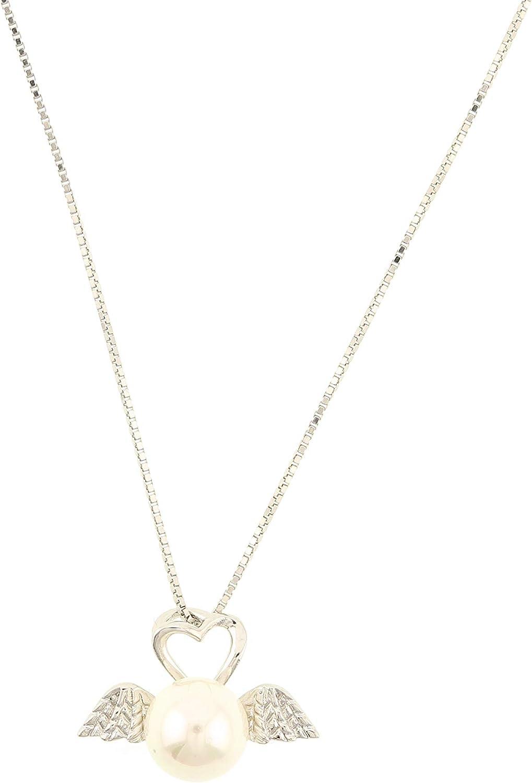 behave® Mujer Collar de Cadena único con Colgante de Perlas Hecho de Plata - Color Plateado - 40cm tamaño