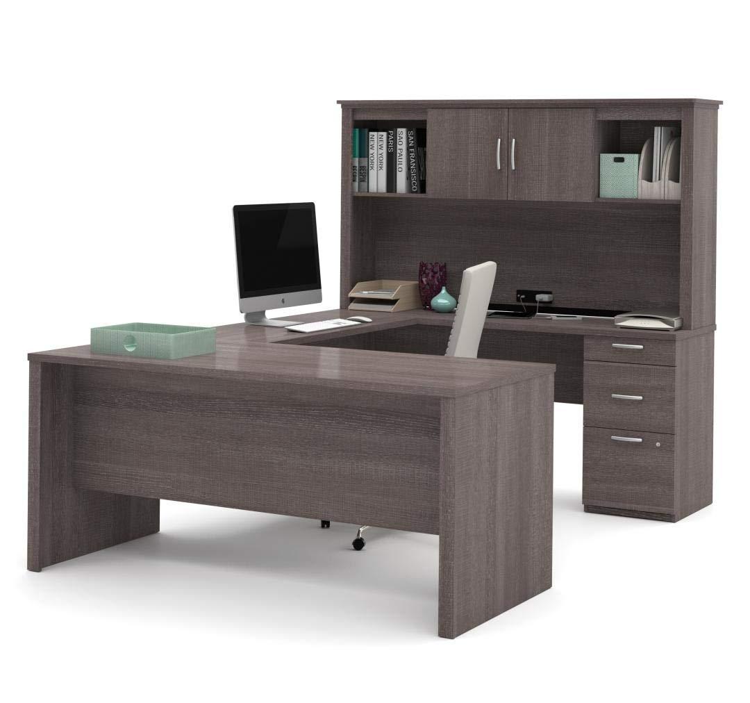 Bestar U-Shaped Desk with Pedestal and Hutch - Logan by Bestar