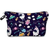 Cosmetic Bag for Purse, Adorable Cute Roomy Makeup Bag Pouch Small for Womens Girls Travel Waterproof Toiletry Accessories Organizer Case Gift (Alpaca 51481)