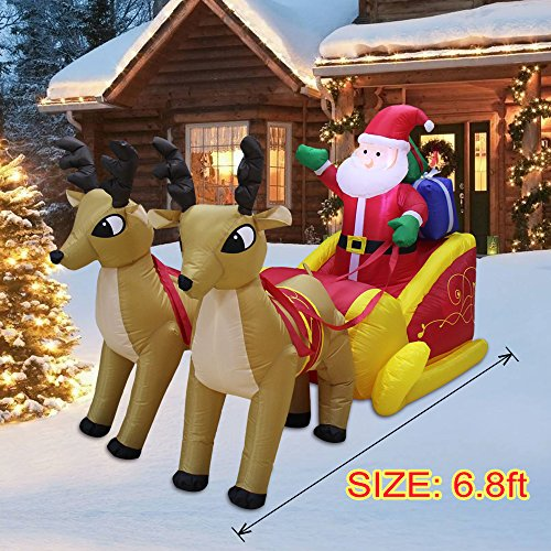 VOCOO Christmas Inflatable Santa in Sleigh With Reindeer Outdoor art Decoration by VOCOO (Image #7)