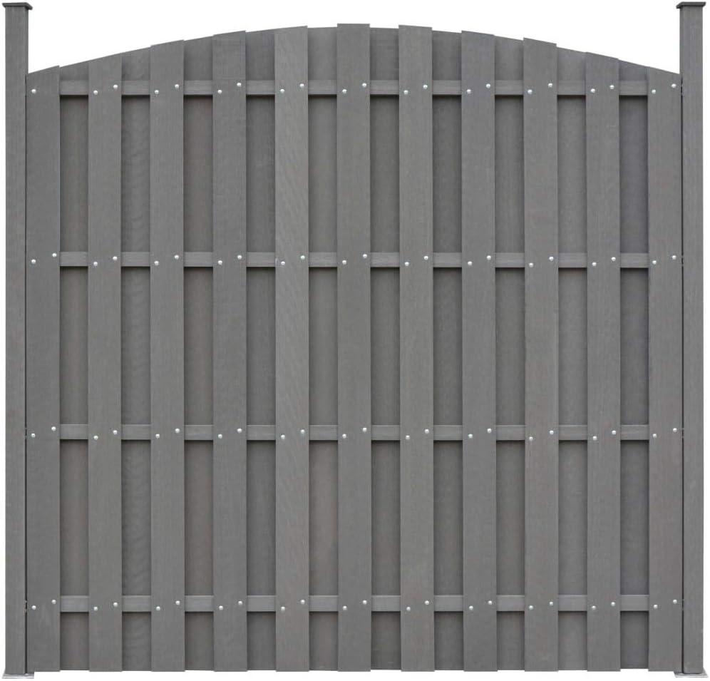UnfadeMemory Panel de Valla Jardín Curvado,Privacidad de Jardín o Valla Residencial,Decoración de Jardín,Resistentes a la Putrefacción y Óxido,WPC (1 uds-con 2 postes-180x(165-180) cm, Gris): Amazon.es: Hogar