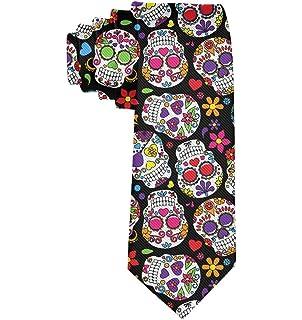 Mens Sugar Skull Printing Casual Tie Necktie