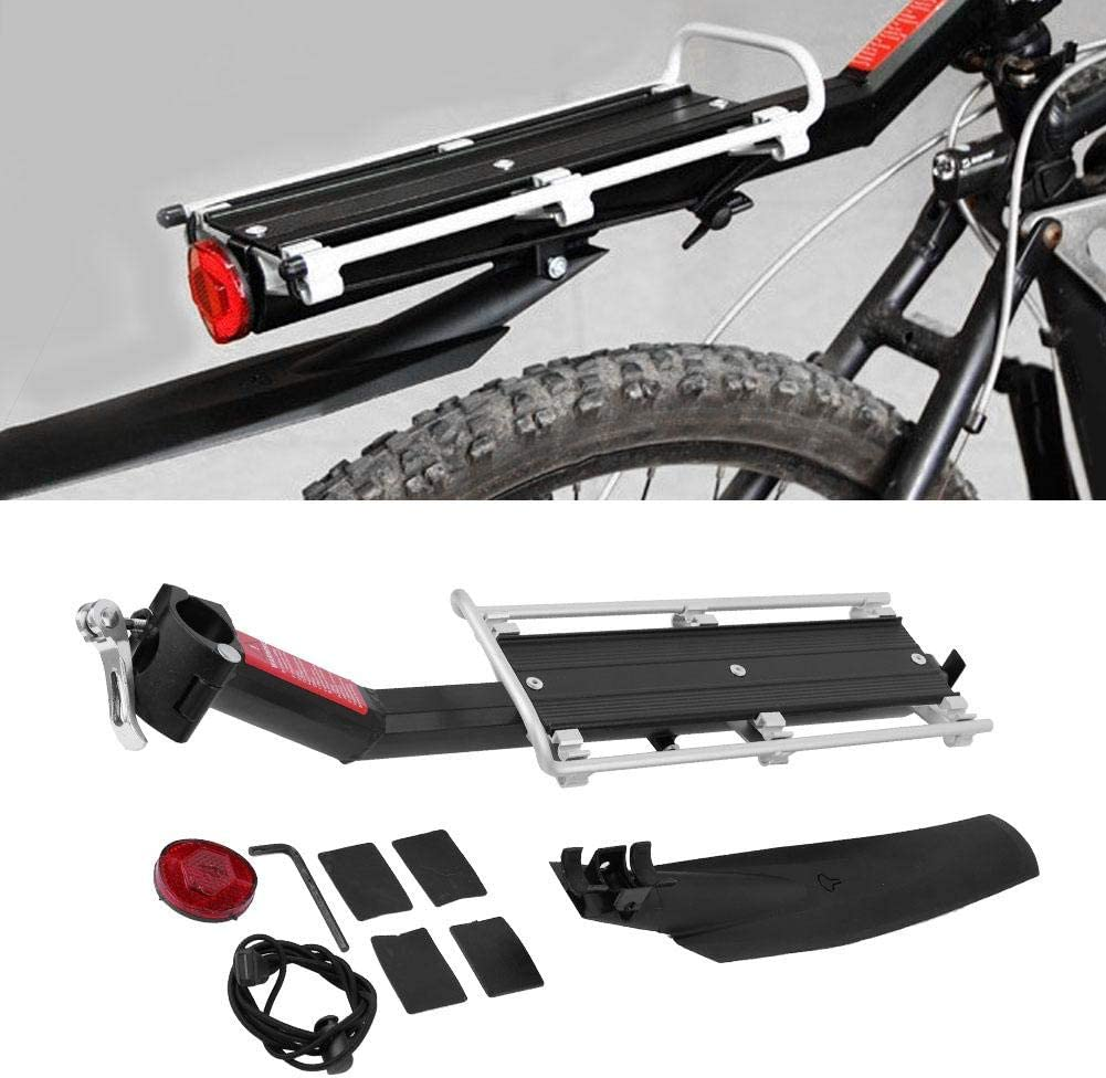 Aluminium Alloy Mountain Bike Rear Seat Luggage Rack Bicycle Cargo Shelf Bicycle Seat Carrier Maximum Load 22lbs with Fender for Road Bikes Mountain Bikes TOPINCN Bike Cargo Rack