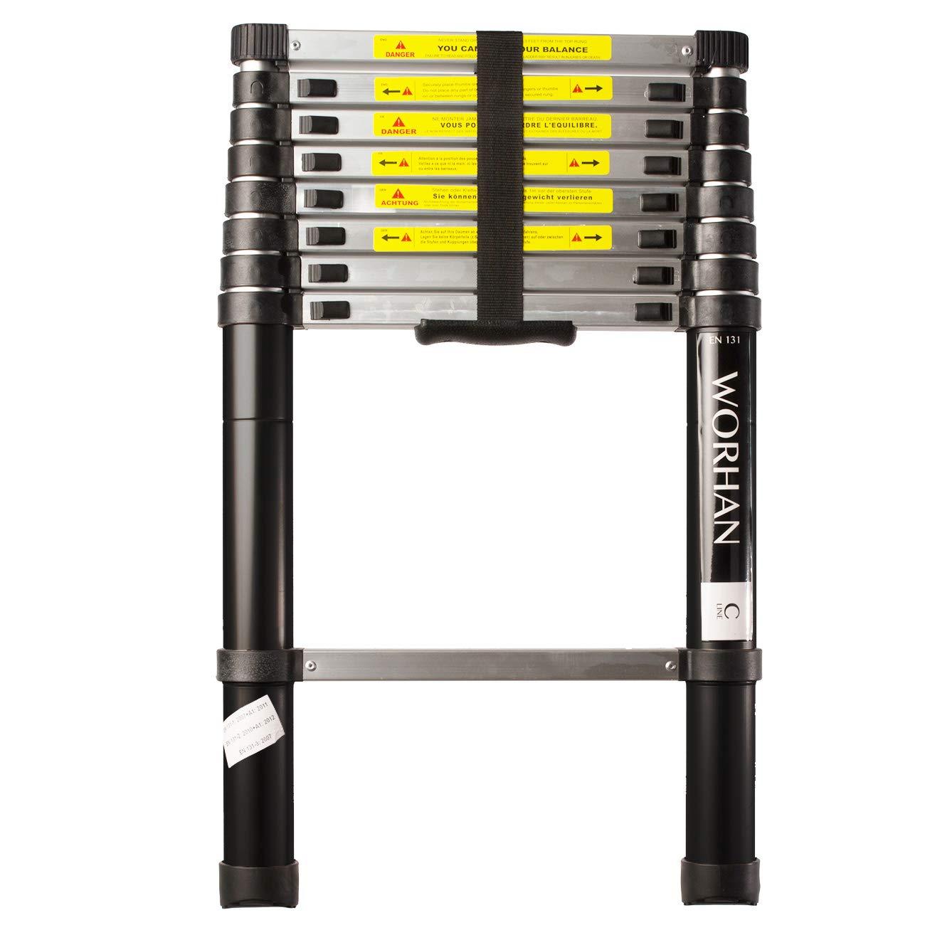 Aluminio Carga m/áxima 150 kg EN 131 Tedecon Escalera telesc/ópica plegable 2.6 m