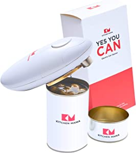 Kitchen Mama Electric Can Opener: Open Your Cans with A Simple Push of Button - No Sharp Edge, Food-Safe and Battery Operated Handheld Can Opener(White)