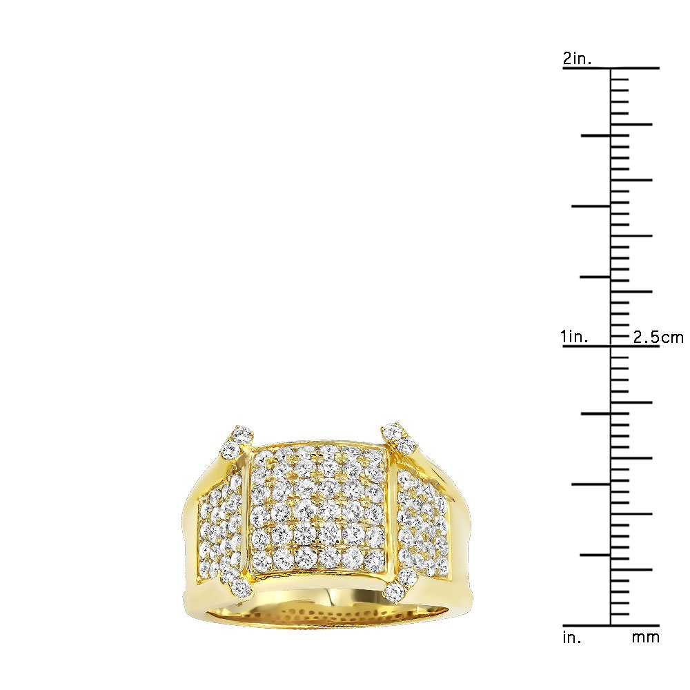 Mens Unique 14K Gold Diamond Band Pinky Ring 1.75ctw (Yellow Gold, Size 11) by Luxurman (Image #3)