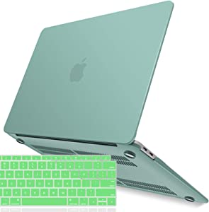 IBENZER New 2020 MacBook Air 13 inch Case M1 A2337 A2179 A1932 Plastic Hard Shell Case with Keyboard Cover for Apple Mac Air 13 Retina Display with Touch ID (2018-2020), Green, MMA-T13GN+1A