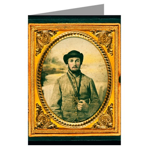 - 12 Vintage Notecards of Southern Civil War Soldier in Shell Jacket and Slouch Hat with Object Hanging From Neck in Front of Painted Backdrop Showing Waterfall From the War Between the States