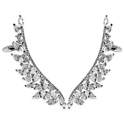 EAR VINES Angel Wings Ear Cuff Pins CZ Crystal Hook Earrings Gold Tone jB0QHPb