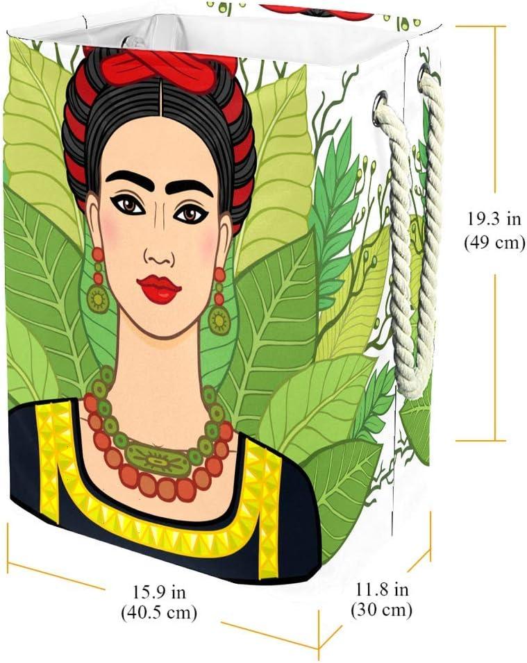 DJROWW - Panier à linge amusant Frida Kaklo - Motif floral exotique - Doublure intégrée avec supports amovibles, Tissu, Ffida12, 19.3x11.8x15.9 in Ffida16
