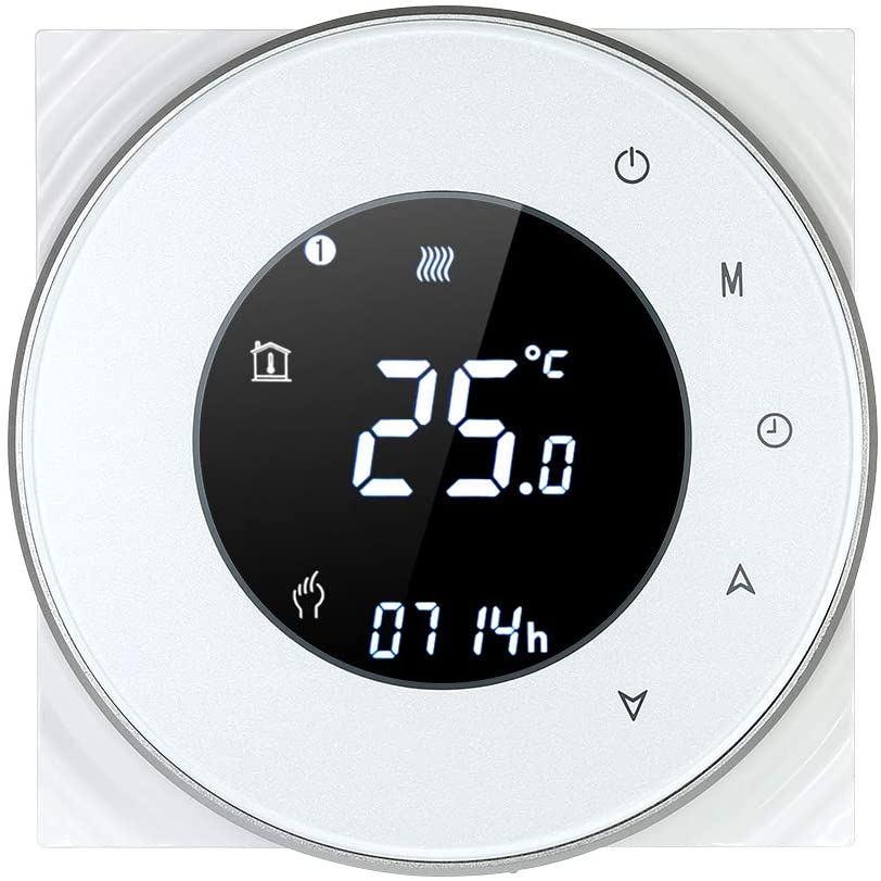 Decdeal Termostato de Calefacción de la Caldera de Gas,Controlador de Temperatura Programable,Pantalla Táctil LCD,con la Función de Control de Voz