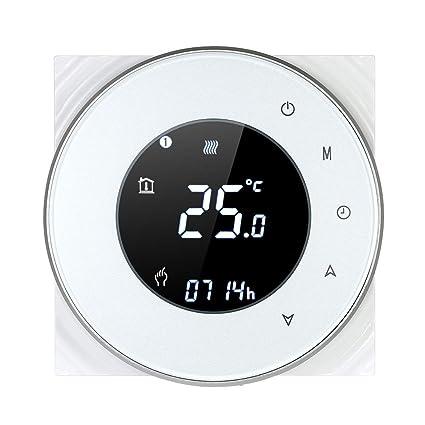 Decdeal Termostato de Calefacción de la Caldera de Gas,Controlador de Temperatura Programable,Pantalla